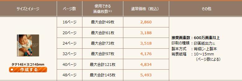 富士フィルムのサイズと価格と最大画像枚数一覧表