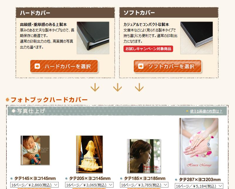 富士フィルムのハードカバーかソフトカバーか選択する画面の見本画像