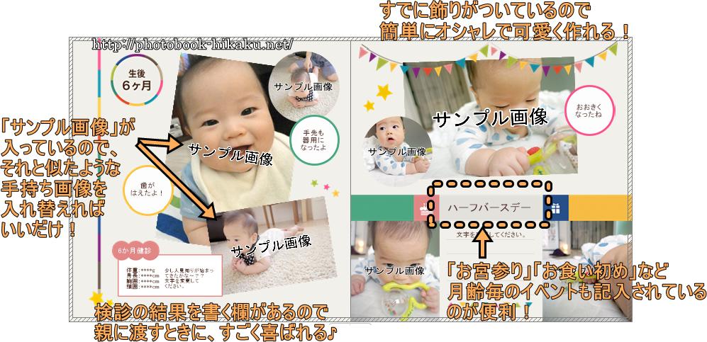 マイブックのテンプレート「baby」の見本画像