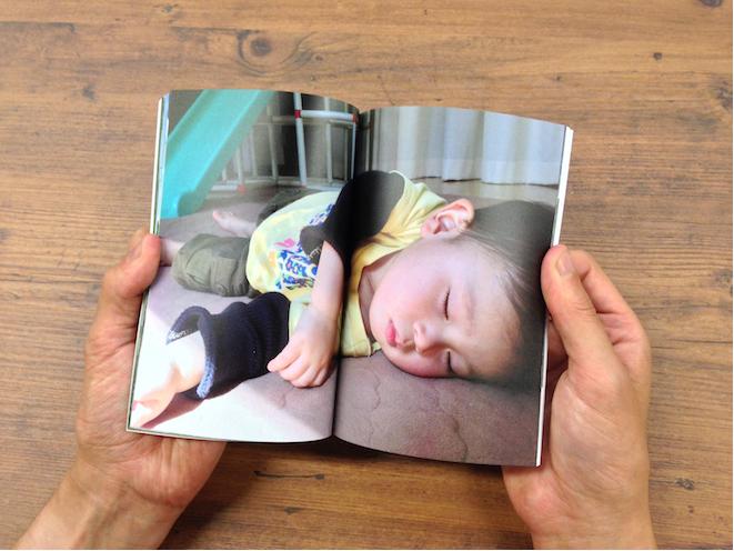 トロットの新機能の見開き2ページに1枚の写真を配置できる見本