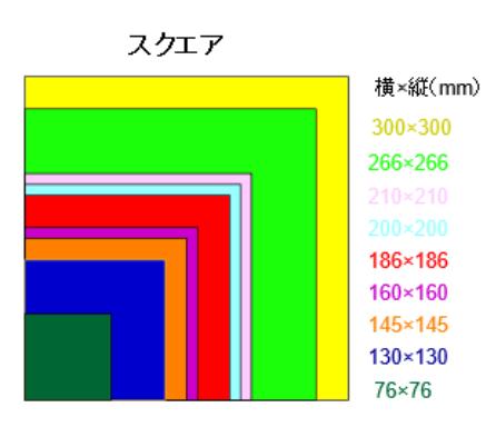 ハードカバーのスクエア対応のサイズ比較
